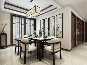 新中式装修 三居 西安装修 装修公司 梧桐苑 餐厅图片来自西安城市人家装饰王凯在梧桐苑147平米新中式风格案例的分享
