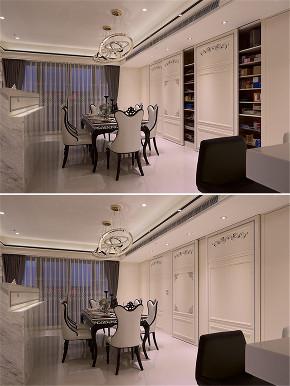 装修设计 装修完成 新古典 餐厅图片来自幸福空间在264平,新古典与科技结合 智慧宅的分享