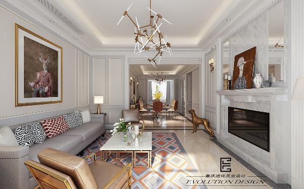 颇具北欧复古风格的图纹,素雅的颜色,流利石膏线条和金属质感的家具,时尚的吊灯。
