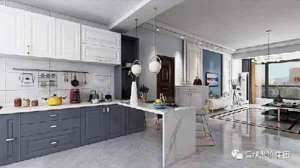 开阔的浅灰色空间色彩设计,避免了纯白色的清冷,中和了纯灰色的柔雅,简单舒适的客厅自动带入休息次元,开阔干净的厨房让人不由自主爱上烹饪。