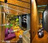 """场域创造 由于方盒体的置入角度,形成旧有墙柱一柱纳入室内,一柱裸露于外的结构,而内部柱体又创造出视听休闲与被设计师喻为""""转角遇到爱""""的个人冥想的空间。"""