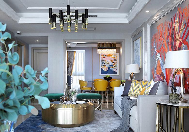 客厅图片来自家装大管家在当代美学 146平轻奢时尚现代3居的分享