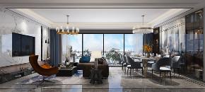 客厅图片来自朱平波在大平层.复地金融岛 【筑梦空间】的分享