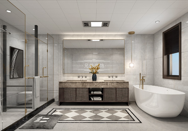 而对于别墅来说,卫生间的设计是非常重要的,客卫体现主人地位、文化、风格的重要空间。