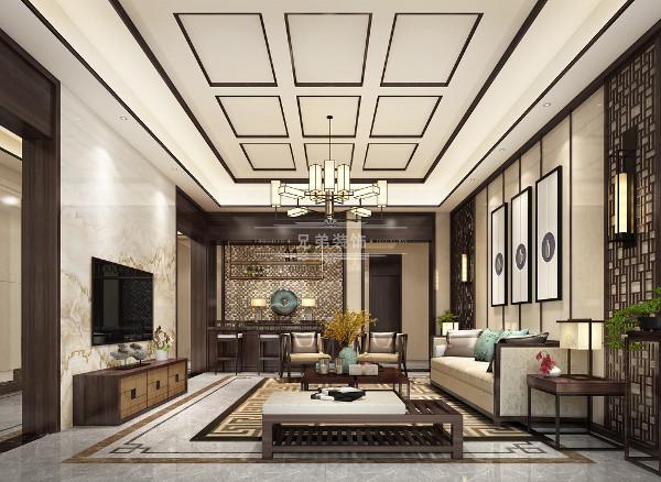 """客厅采用挑空的空间感。更多地利用了新中式后现代手法,石材的的中国山水画和墙上一幅轻松挂画无一不体现出""""典雅""""、""""儒雅""""的意境。"""