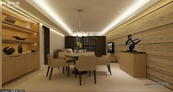 餐厅规划以简约大方为主,搭配一旁的陈列柜