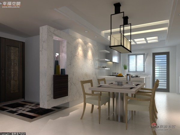 餐厅、厨房以开放方式表现