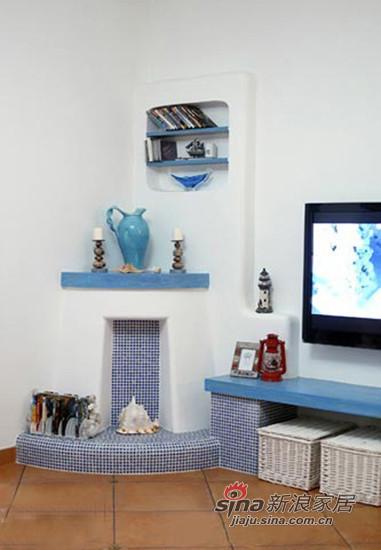 地中海风格的装饰壁炉,可以作为展示架和边