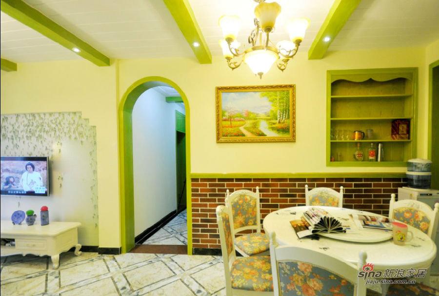 美式 三居 客厅图片来自装修微日记在【高清】11万营造98平清新绿色美式混搭家32的分享