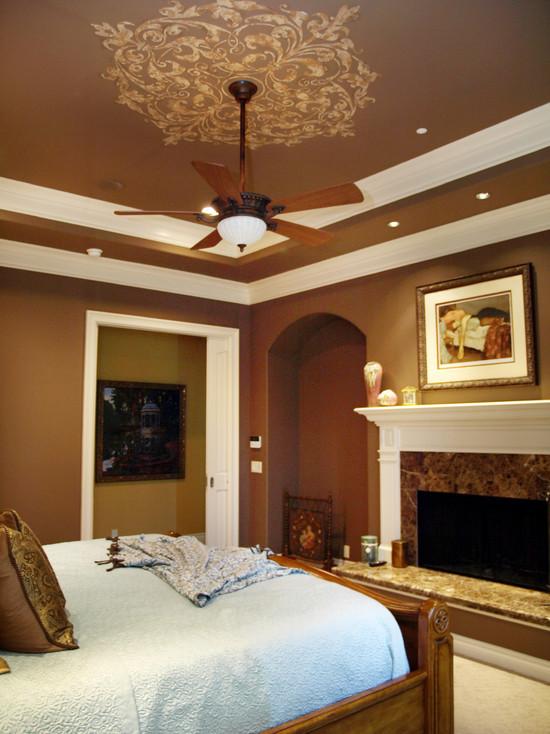 在统一的色调的房顶上配上图案,很漂亮的设计~~,房顶,屋顶,天花板,卧室