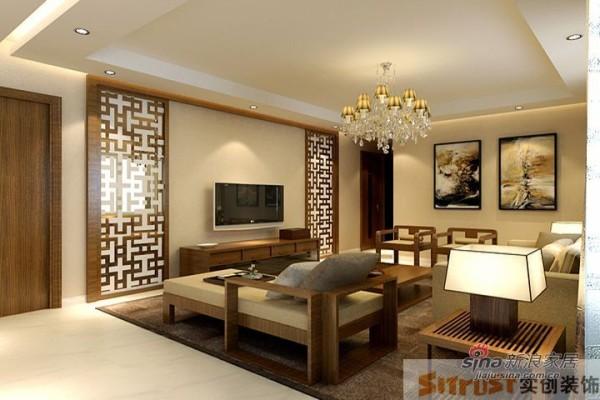 鑫水园150平新中式设计案例—电视背景墙