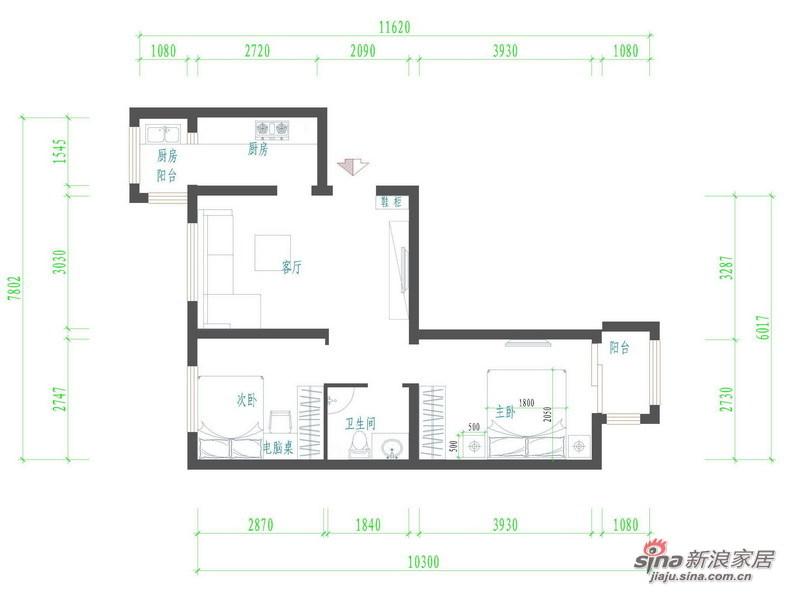 欧式 二居 客厅图片来自用户2772873991在68平旧房改造简约家13的分享