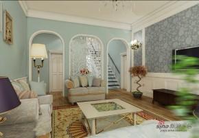 地中海 三居 客厅 白富美图片来自用户2757320995在124平米地中海情调36的分享