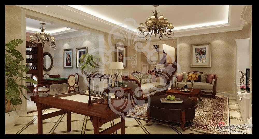 美式 别墅 客厅图片来自用户1907685403在天津尚层装饰复地温莎堡460㎡别墅装修效果图93的分享