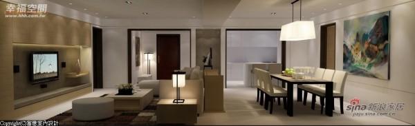 设计师在大梁延伸尽头的壁面上设置端景柜