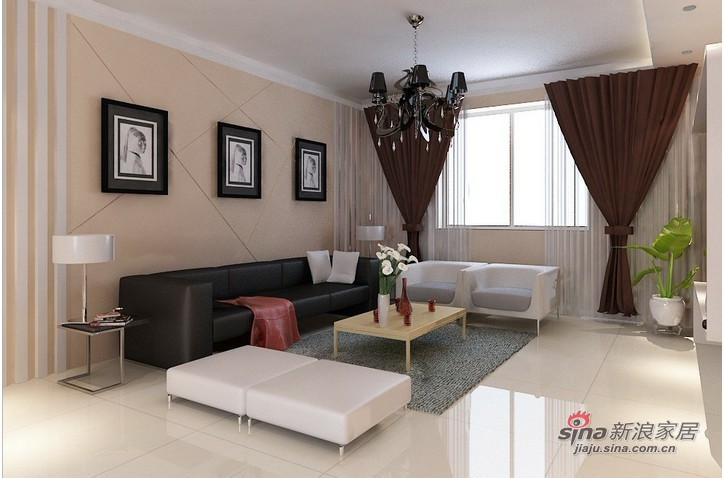"""简约 三居 客厅图片来自用户2558728947在127平米""""现代简约""""家装案例_实创装饰85的分享"""