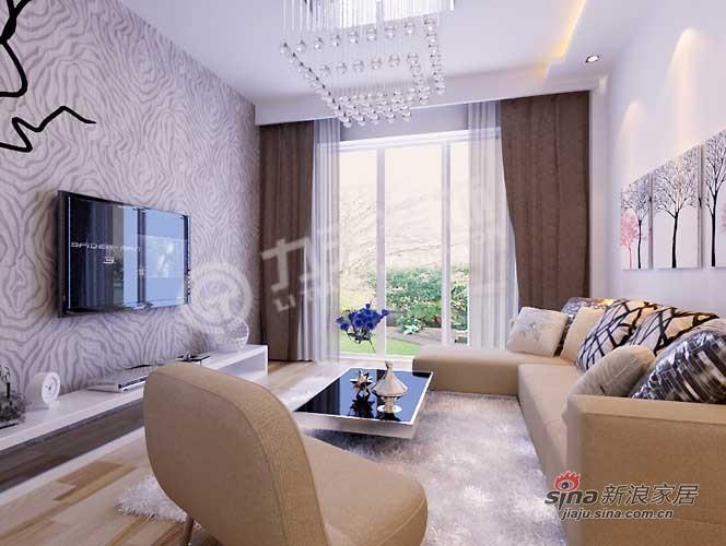 简约 二居 客厅图片来自阳光力天装饰在福晟钱隆城80平米现代简约79的分享