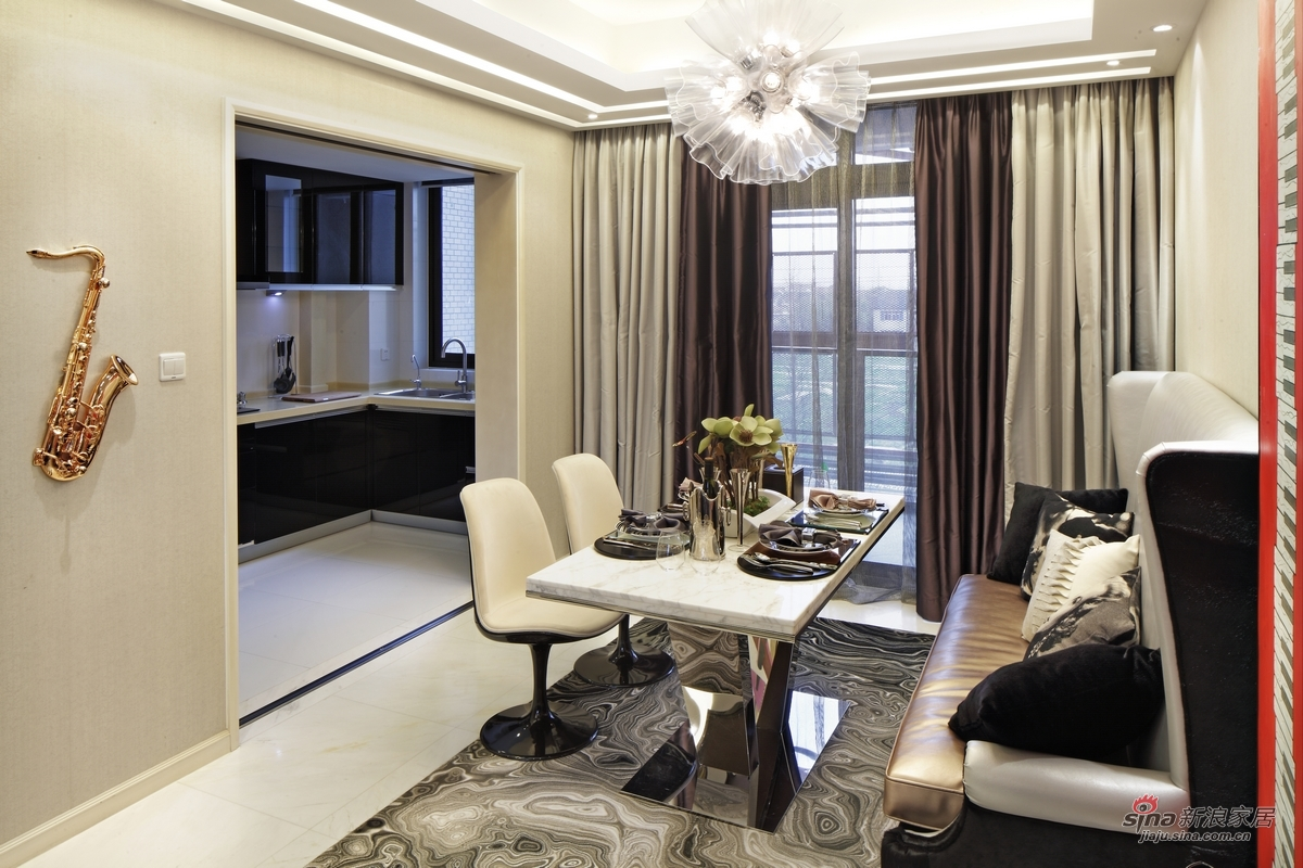 简约 三居 餐厅图片来自用户2739153147在【高清】115平米三居室设计最有范儿68的分享