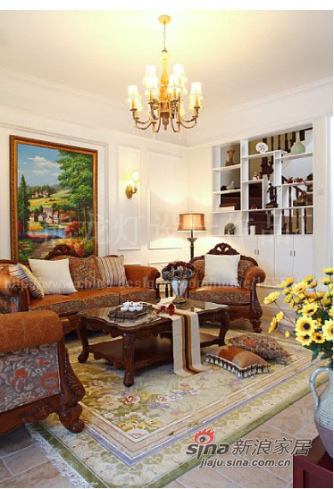 美式 别墅 客厅图片来自用户1907686233在让阳光在家中飞舞450平大别墅87的分享