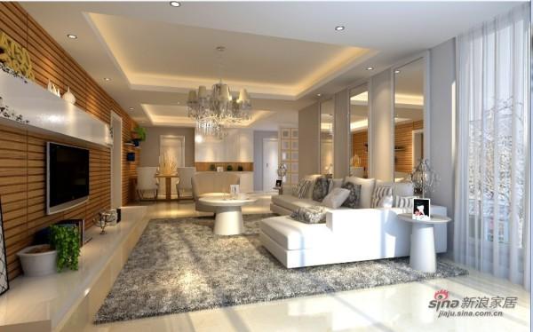 客厅空间整体柚木护墙板通向餐厅形成主体背