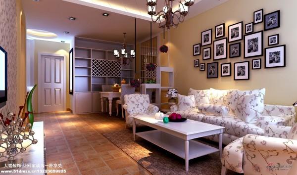 混搭田园风格家庭设计-客厅装修效果图