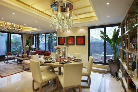 90㎡小户型中式现代婚房装修 领略古典美餐厅吊顶