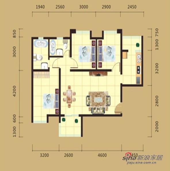 欧式 三居 户型图图片来自用户2746889121在打造大方,高雅,和谐的欧式三居56的分享