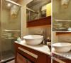 大块方正的卫浴镜增加了空间的视觉层次感