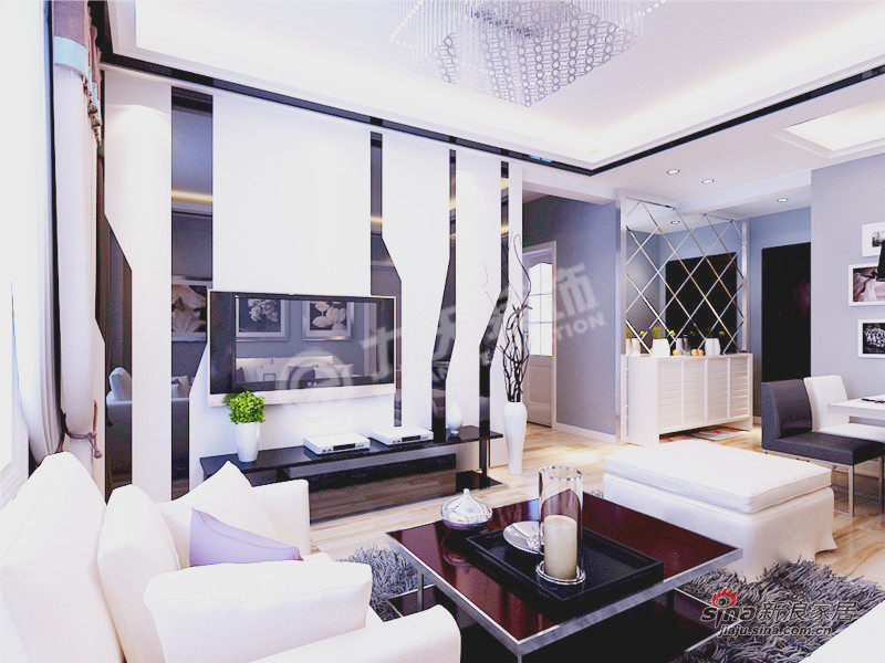 简约 三居 客厅图片来自阳光力天装饰在三室两厅现代简约风格家34的分享