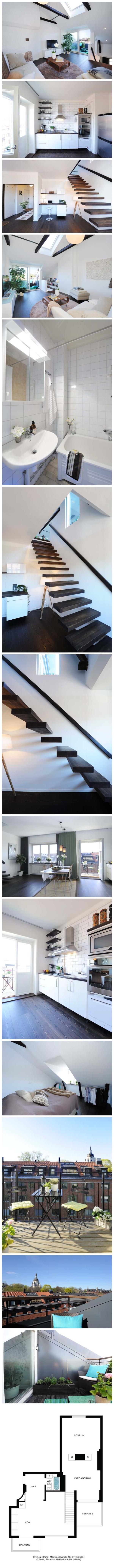 """这间公寓的狭小空间对于充实的生活来说并不是障碍。舒适和自然的色彩遍布在65平方米的空间当中,公寓有两层楼。这间公寓位于斯德哥尔摩的中心地带,称为Södermalm。 按照其目前拥有者的描述:""""也许这是斯德哥尔摩最好的单身公寓了""""。 顶楼公寓有一个阳台和一个露台,这里可以提供斯德哥尔摩阳光下美丽而又安静的时刻。室内设计简约,只用了几件重要家具来营造舒适,温馨的氛围。 白色的墙壁突出了简约的用来装饰小户型的斯堪的纳维亚风格。在楼下,通过照进自然光的厨房和用餐区的大窗户,可以俯瞰整个庭院。"""