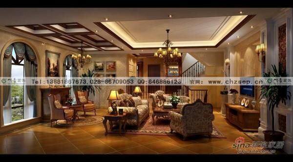 别墅装修设计美式风格客厅装修