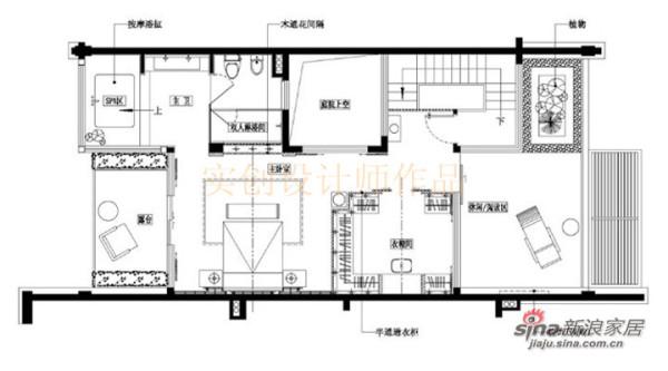汀湘十里别墅中式风格装修设计-二层布置图