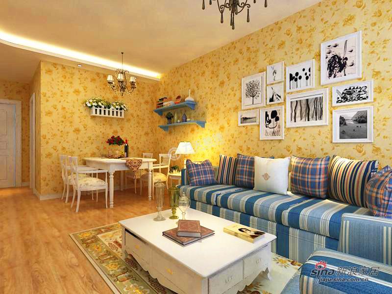 地中海 二居 客厅图片来自用户2756243717在招商依云郡82.6平米-2室2厅-地中海风情62的分享