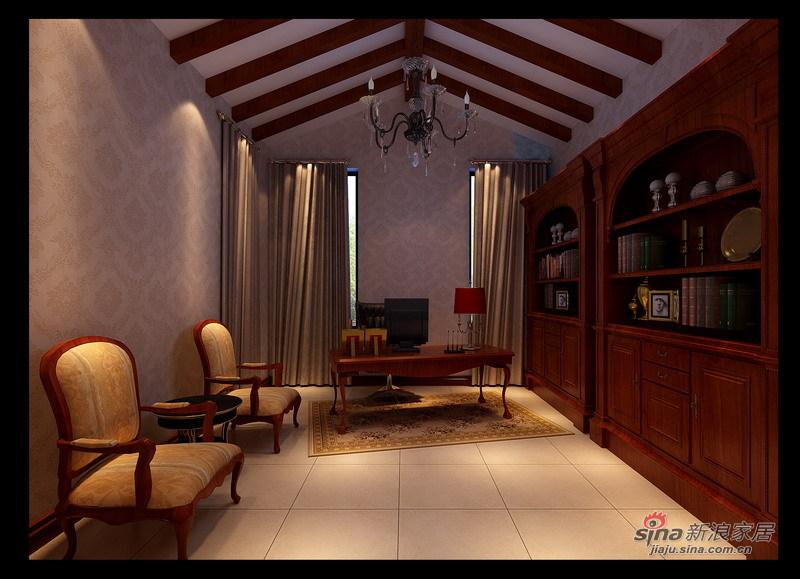 欧式 别墅 书房图片来自用户2745758987在孔雀城227平现代欧式风格别墅设计22的分享