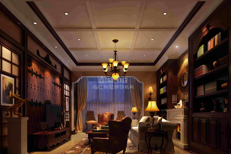 田园 别墅 客厅图片来自用户2737946093在鸣仁装饰美式田园西山华府78的分享