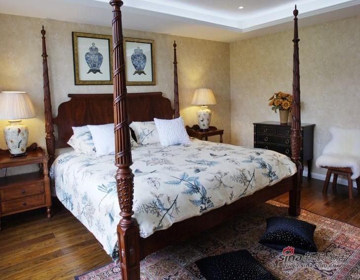 美式 复式 卧室图片来自家装大管家在【高清】135平大气美式雅致之家86的分享