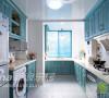 厨房的装修设计依然是以蓝白为主