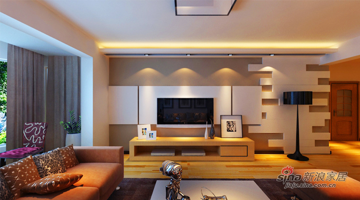 简约 二居 客厅图片来自用户2739081033在.6.7万打造 润园翡翠城 124平 现代简约 两居60的分享