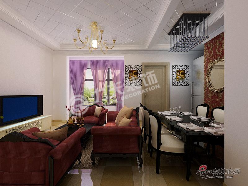 欧式 二居 客厅图片来自阳光力天装饰在旭辉澜郡-3室2厅2卫1厨-欧式风格81的分享