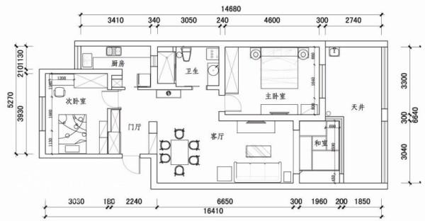 粤秀苑109平米的两室两厅