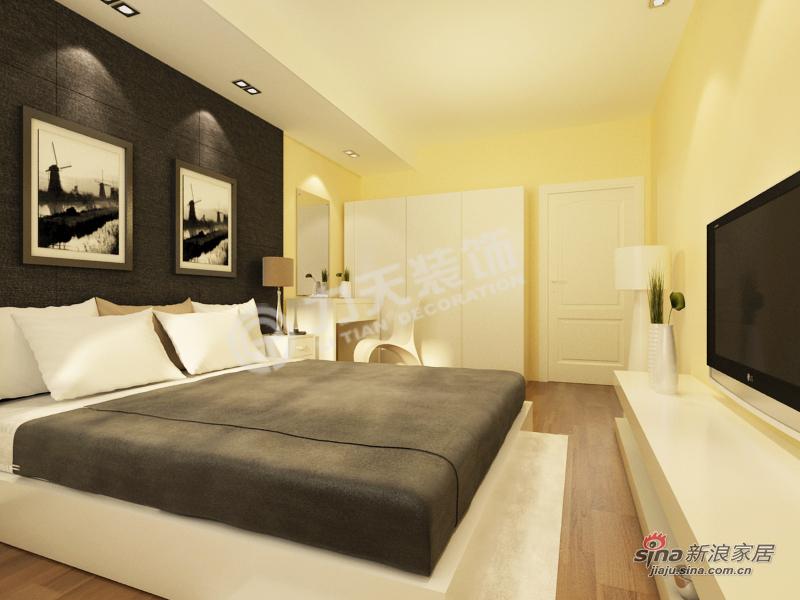简约 二居 卧室图片来自阳光力天装饰在金融街南开中心-两房两厅一卫-现代简约15的分享