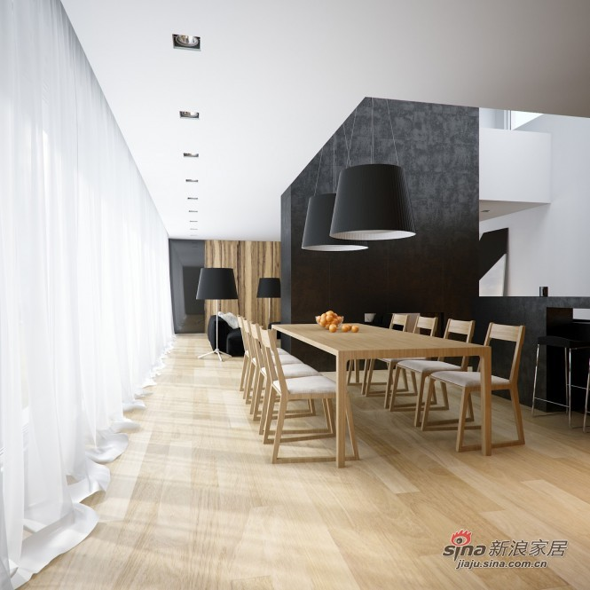 简约 三居 餐厅图片来自用户2739081033在108平现代黑白时尚公寓28的分享