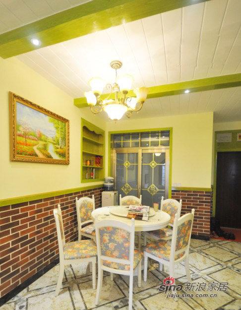 美式 三居 餐厅图片来自装修微日记在【高清】11万营造98平清新绿色美式混搭家32的分享