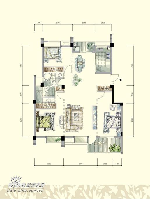 简约 三居 户型图图片来自用户2739081033在九重天花园179的分享