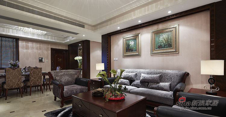 新古典 四居 客厅图片来自装修微日记在【高清】161平古典韵味时尚4居室93的分享