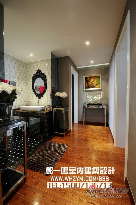 欧式 复式 卫生间图片来自郑一鸣室内建筑设计工作室在时尚150平黑白森林品味家95的分享