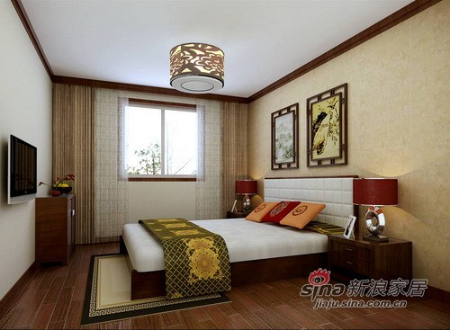中式 三居 卧室图片来自用户1907659705在中式5000年文化呈现 高贵+稳重72的分享