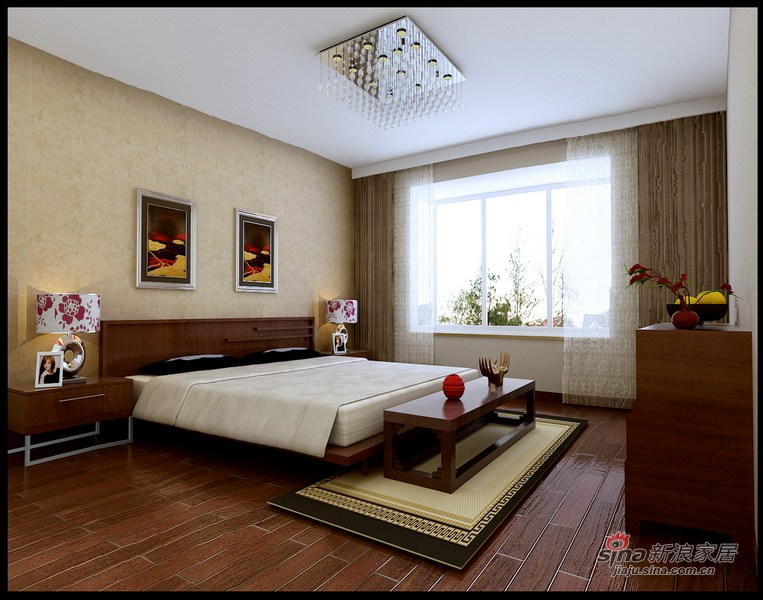 中式 四居 卧室图片来自用户1907659705在师职180㎡新中式风格4居室33的分享