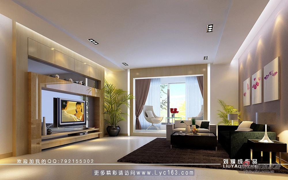 简约 四居 客厅图片来自用户2738813661在一套房子两种背景墙方案54的分享