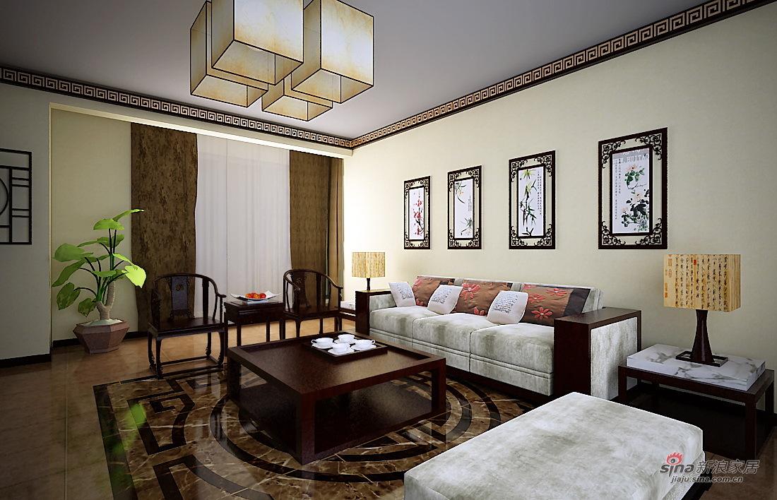 中式 二居 客厅图片来自用户1907662981在5.3万打造 渤海明珠 两居 中式风格74的分享